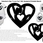 Printable Valentine's Day Activity With Sign Language   Free Printable Valentine's Day Stencils