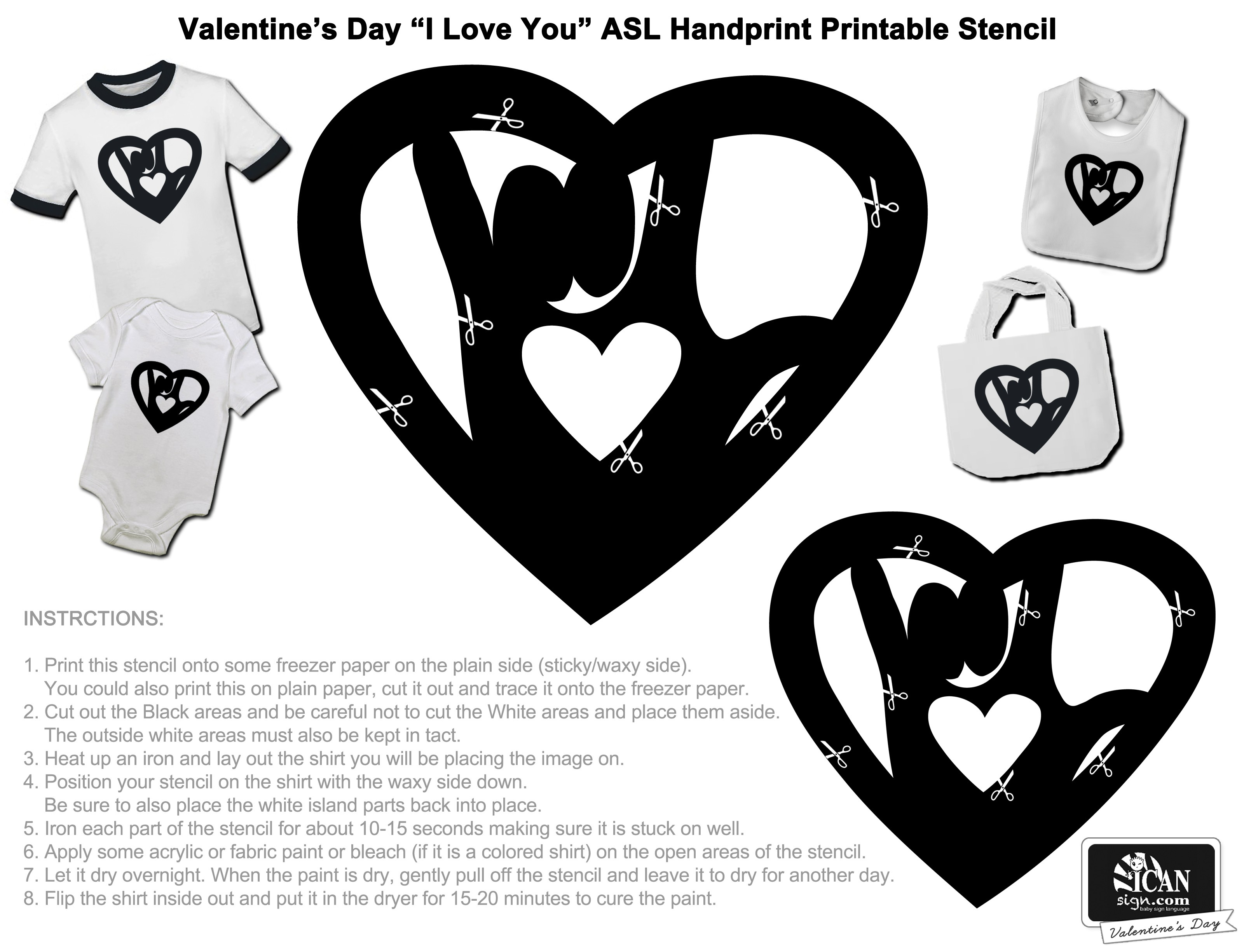 Printable Valentine's Day Activity With Sign Language - Free Printable Valentine's Day Stencils