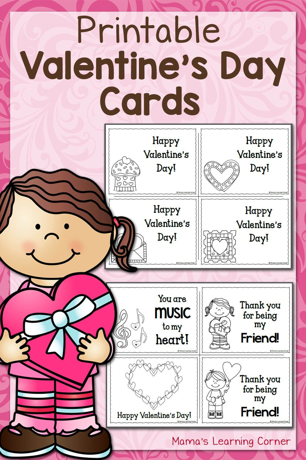 Printable Valentine's Day Cards | Best Of Mama's Learning Corner - Free Printable Valentines Day Cards Kids