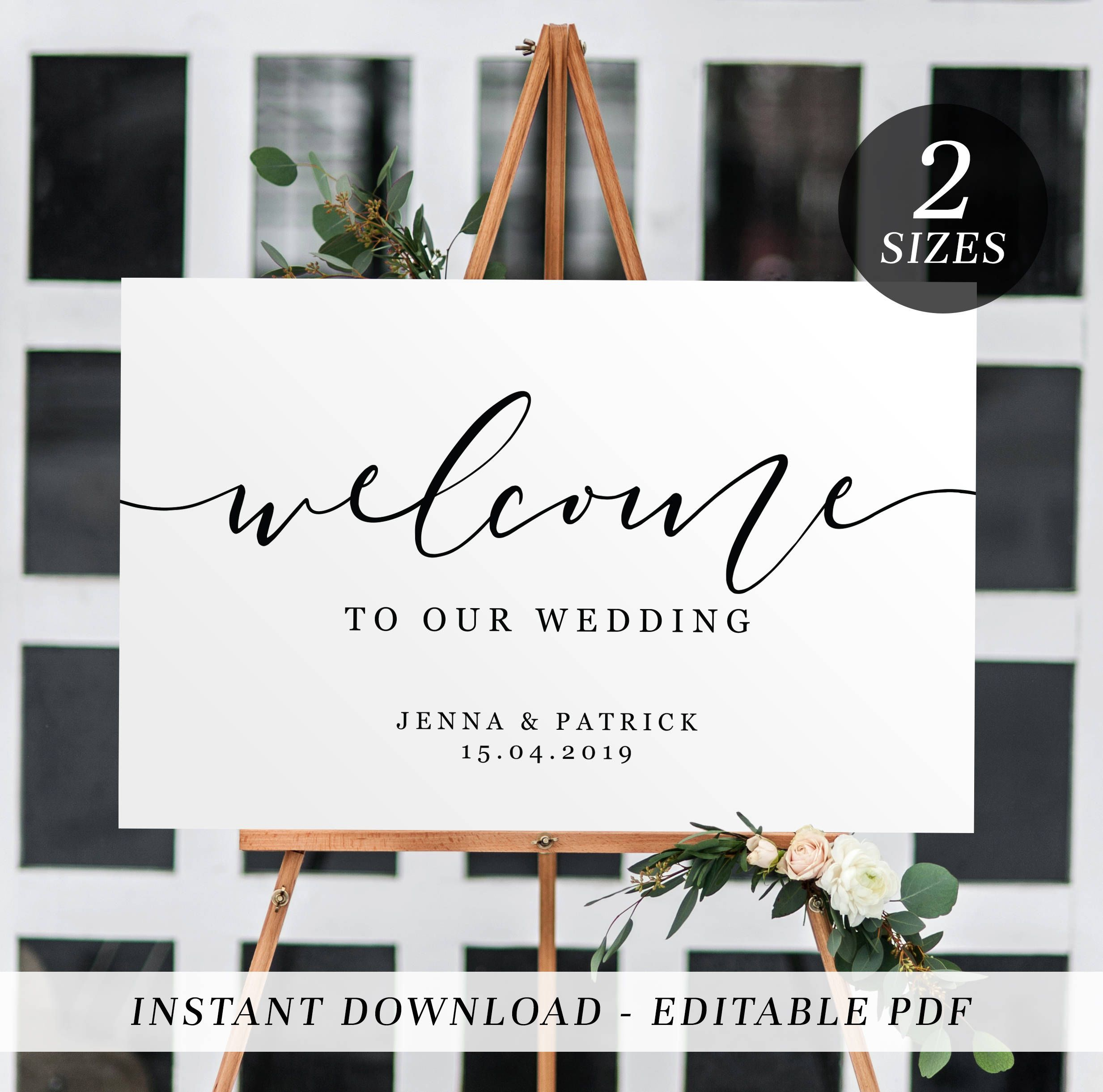 Printable Wedding Welcome Sign | Editable Template Welcome Sign - Free Printable Welcome Sign Template