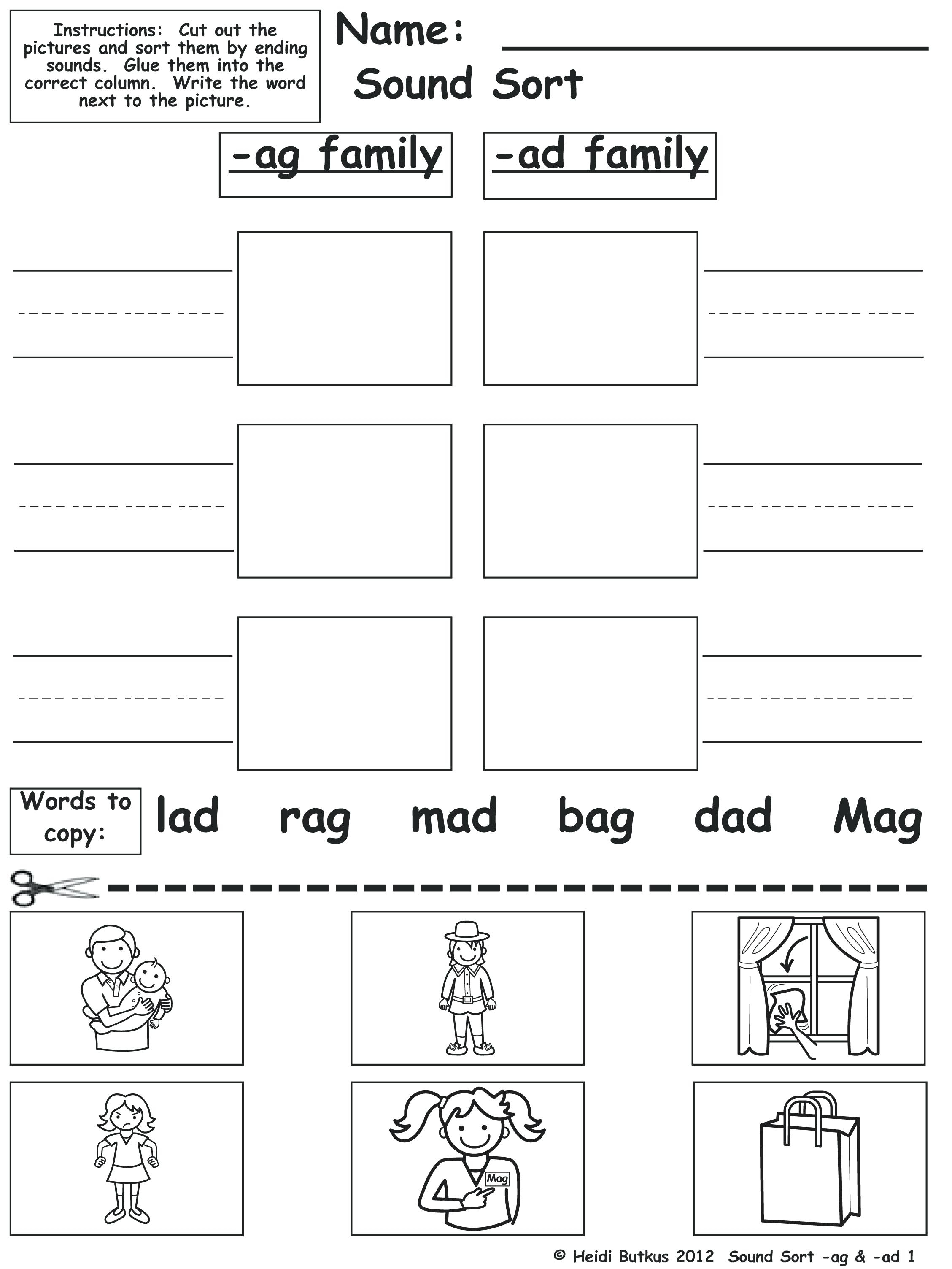Printable Word Family Lists Word And Picture Sort Free Printable - Free Printable Word Family Worksheets For Kindergarten