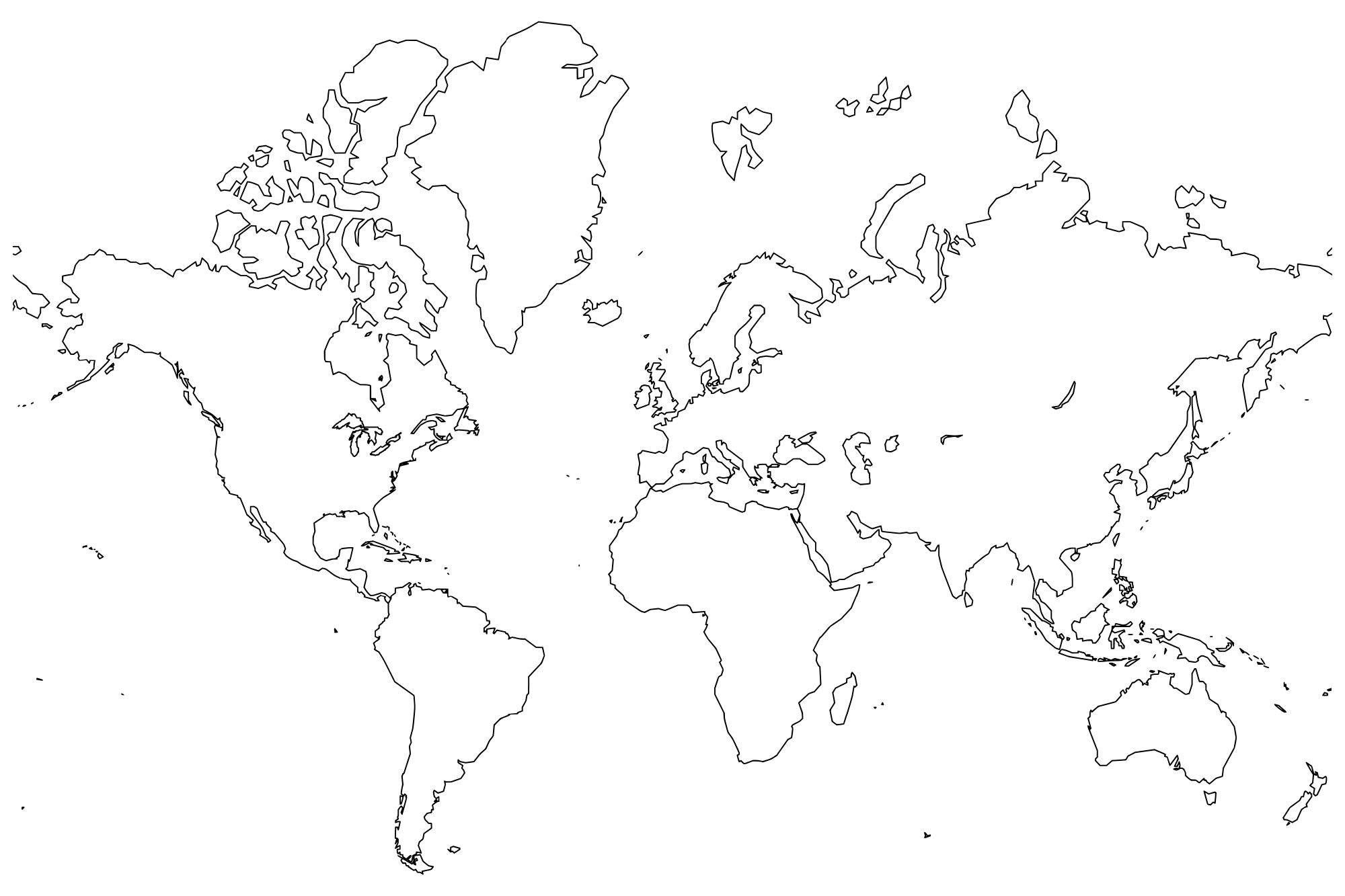 Printable World Maps In Black And White And Travel Information - Free Printable Blank World Map Download