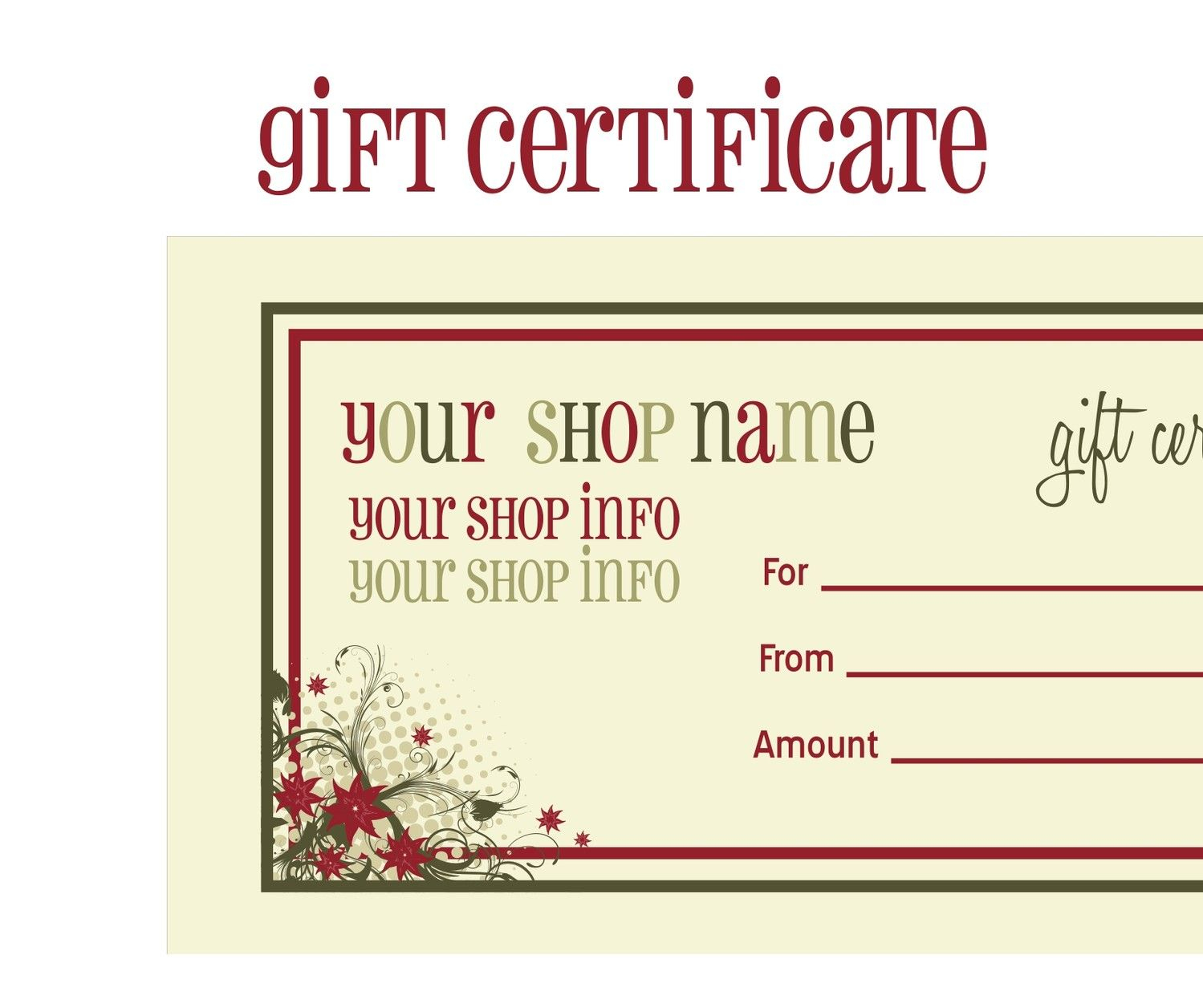 Printable+Christmas+Gift+Certificate+Template | Massage Certificate - Free Printable Gift Coupons
