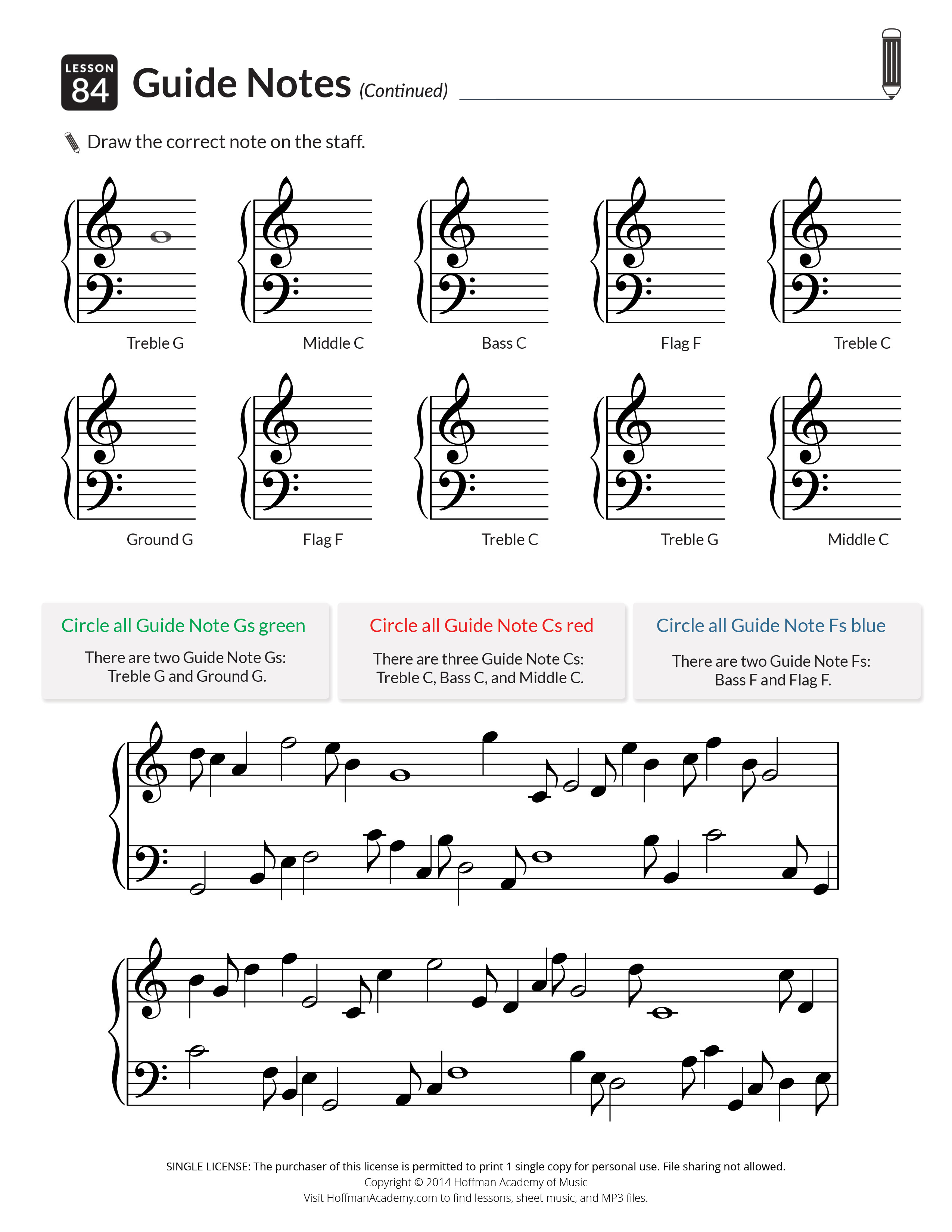 Printables & Audio For Piano Units 1-5: Lessons 1-100 - Hoffman Academy - Beginner Piano Worksheets Printable Free