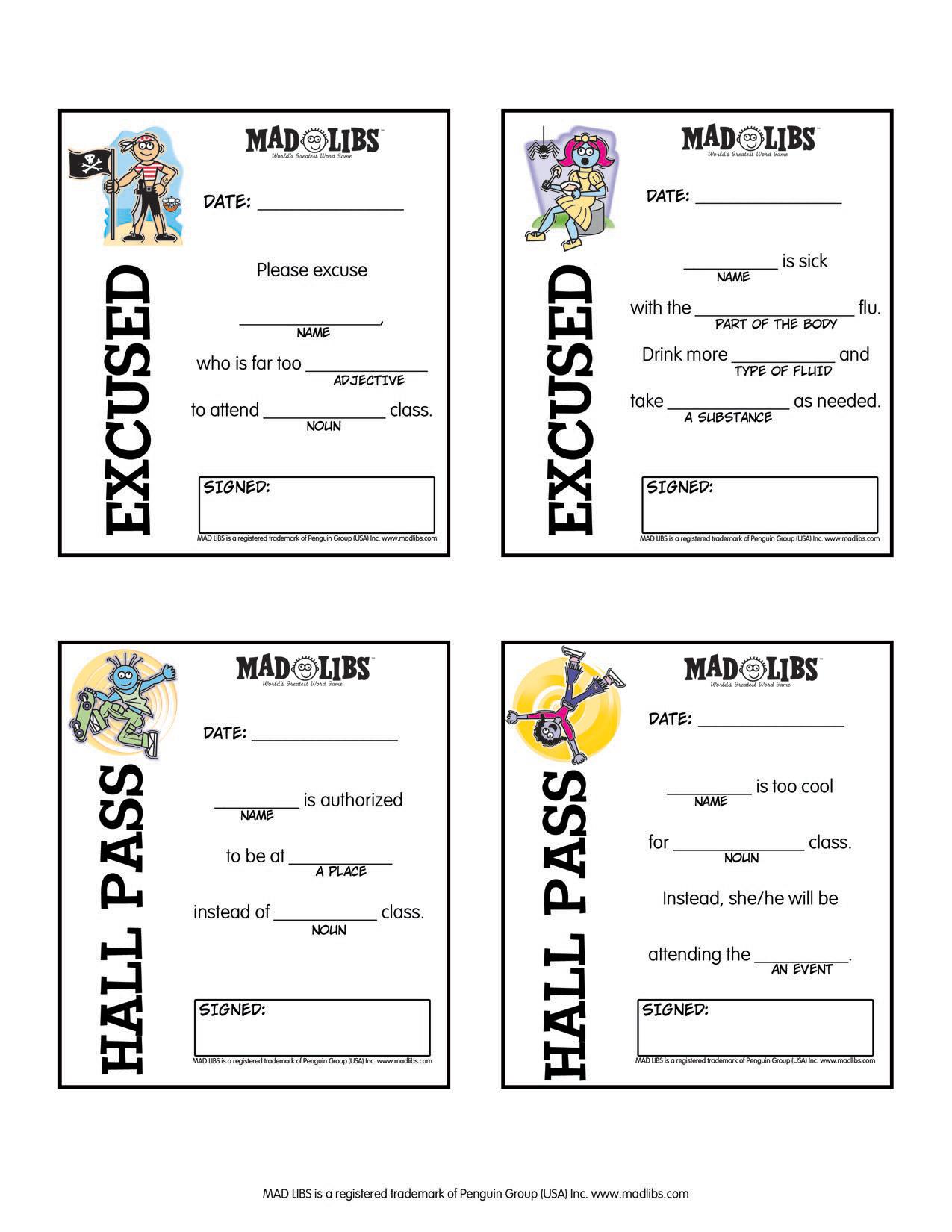 Printables – Mad Libs - Free Printable Hall Pass Template