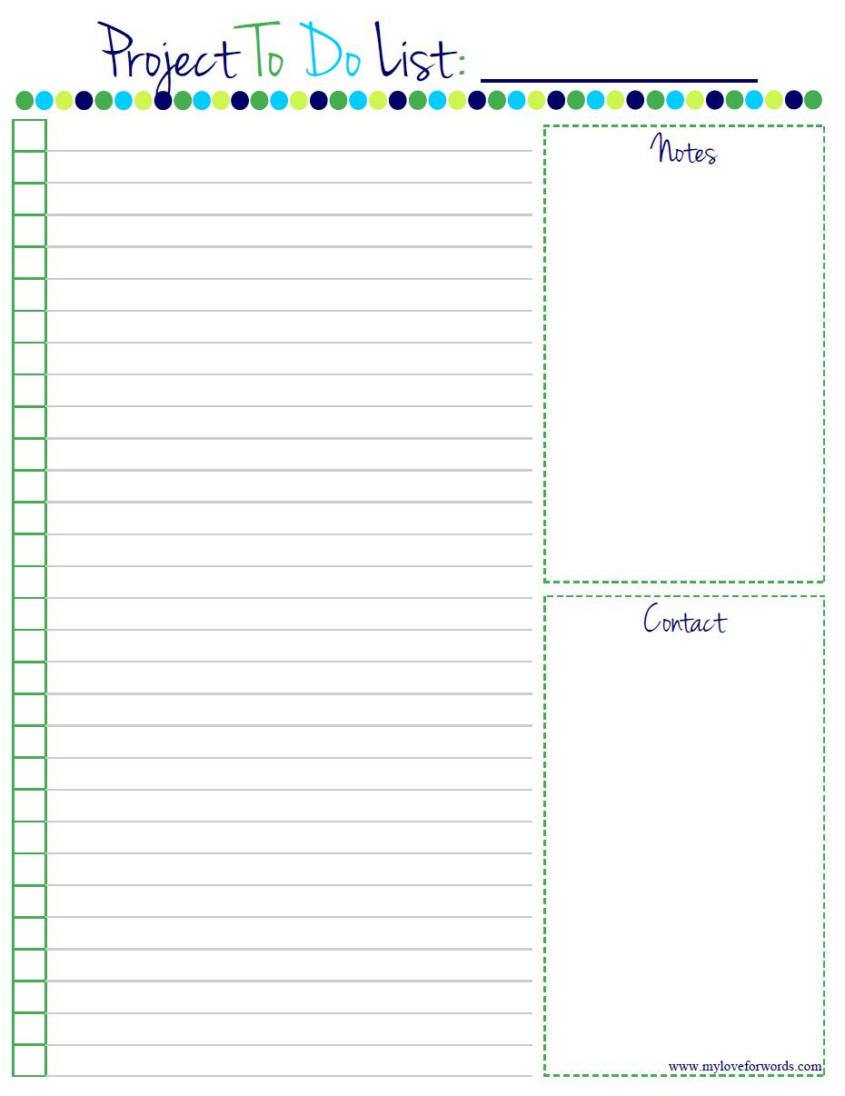 Project To Do List: Free Printable! - To Do List Free Printable