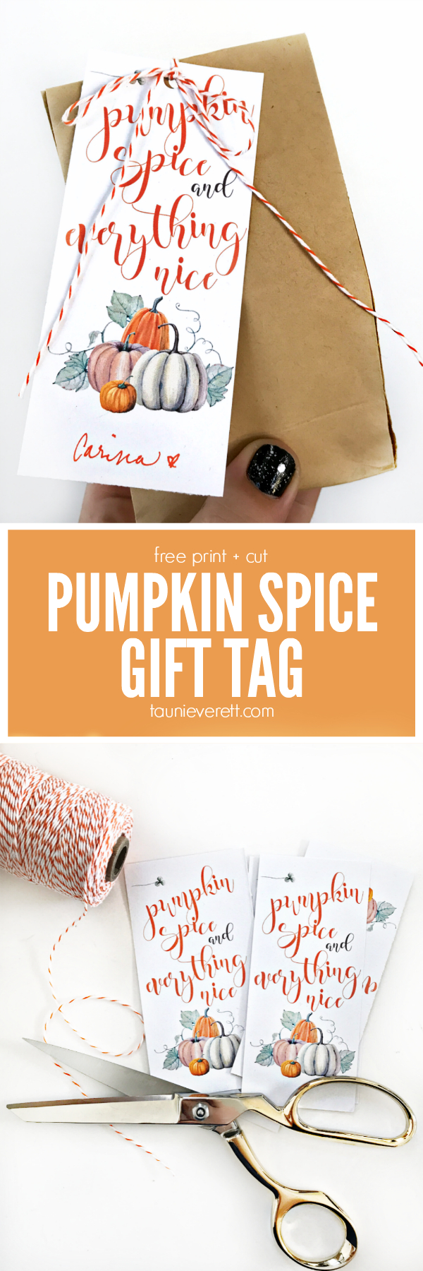 Pumpkin Spice And Everything Nice Gift Tag   Print - Turkey Day - Free Printable Pumpkin Gift Tags
