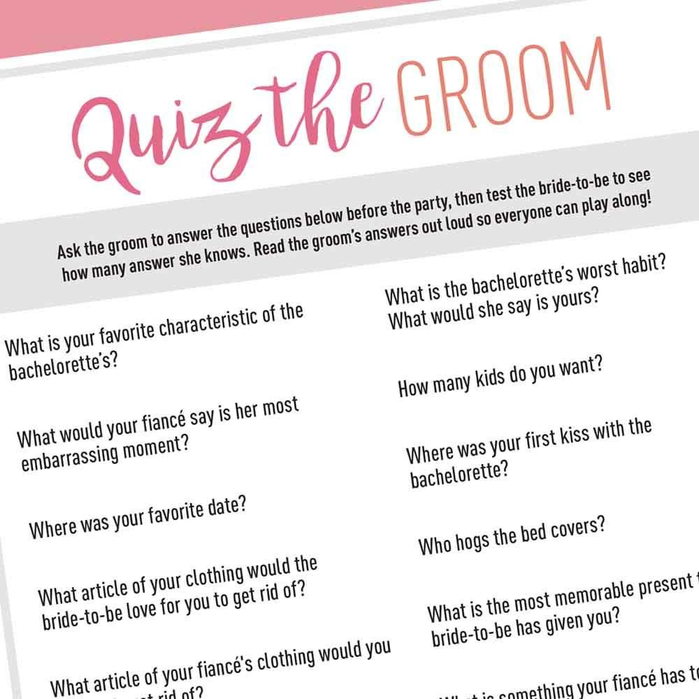 Quiz The Groom - Free Digital Download In 2019 | Bachelorette Games - How Well Does The Bride Know The Groom Free Printable