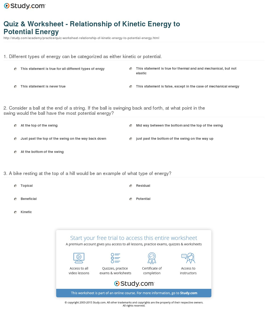Quiz & Worksheet - Relationship Of Kinetic Energy To Potential - Free Printable Worksheets On Potential And Kinetic Energy