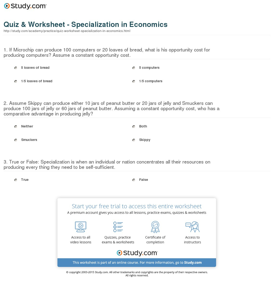 Quiz & Worksheet - Specialization In Economics | Study - Free Printable Economics Worksheets