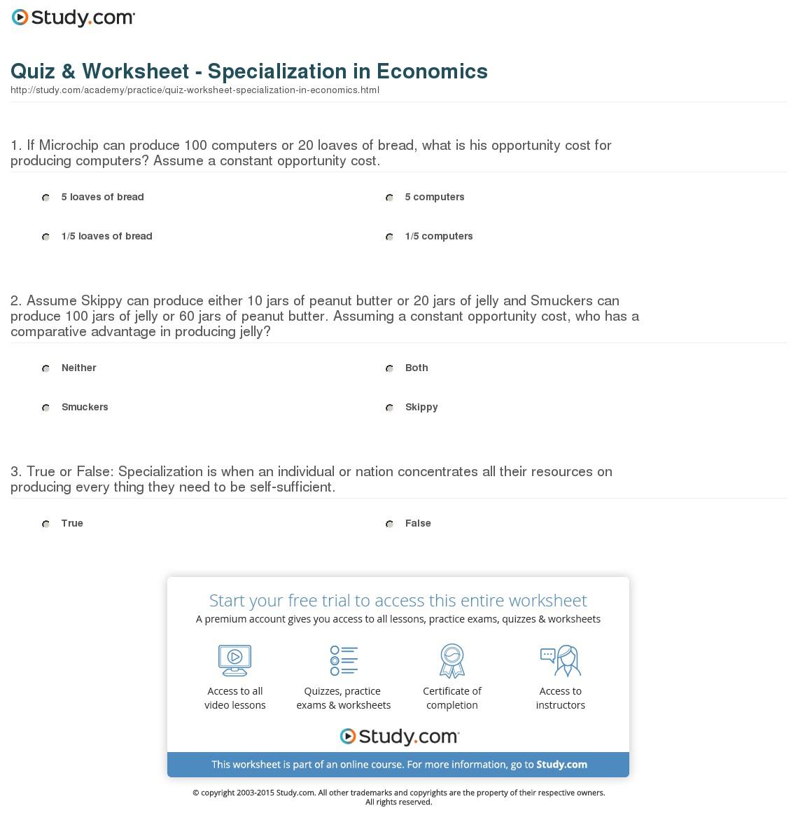 Quiz & Worksheet - Specialization In Economics | Study - Free Printable Economics Worksheets