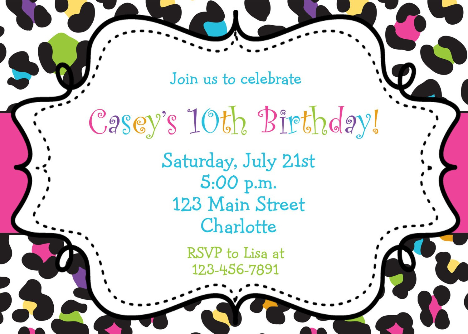 Rainbow Cheetah Girls Birthday Party Invitation Printable | Etsy - Free Printable Cheetah Birthday Invitations