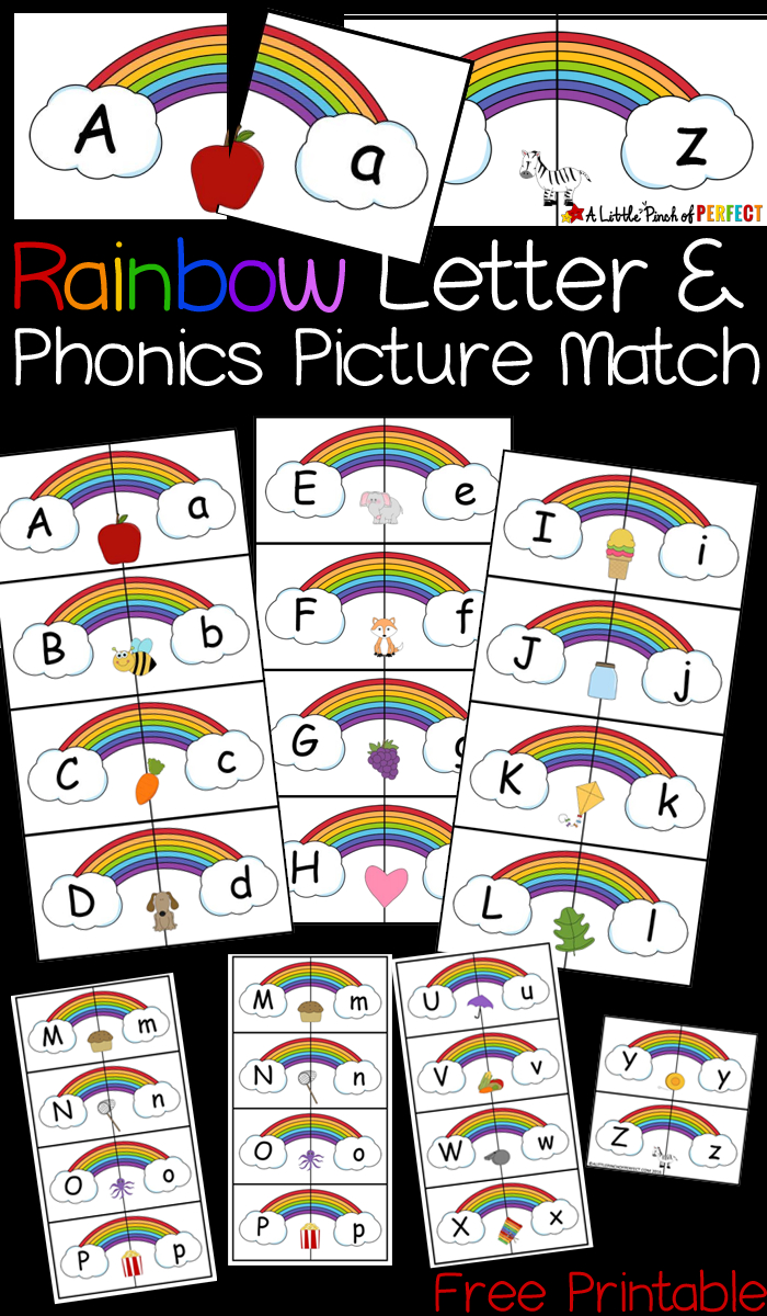 Rainbow Letter And Phonics Picture Match Free Printable - | Abcs - Free Printable Rainbow Letters