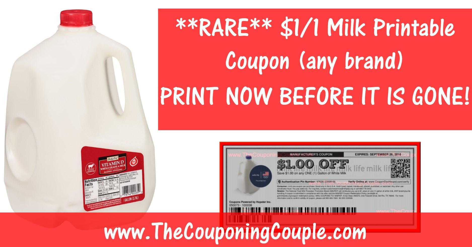 Rare Milk Printable Coupon ~ Save $1.00/1 Gallon Any Brand! - Free Milk Coupons Printable