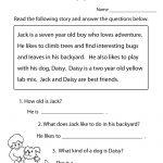 Reading Comprehension Practice Worksheet Printable | Language   Free Printable Reading Comprehension Worksheets