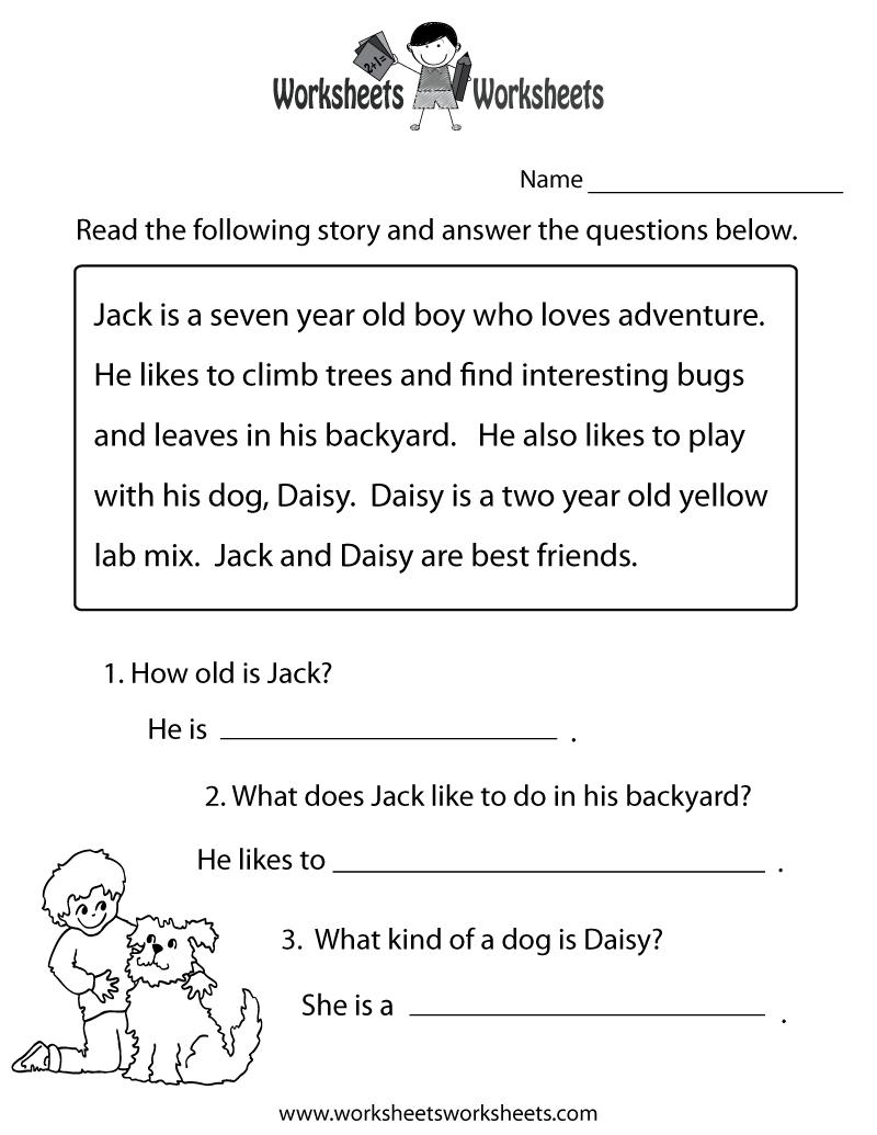 Reading Comprehension Practice Worksheet Printable   Language - Free Printable Reading Comprehension Worksheets For 3Rd Grade