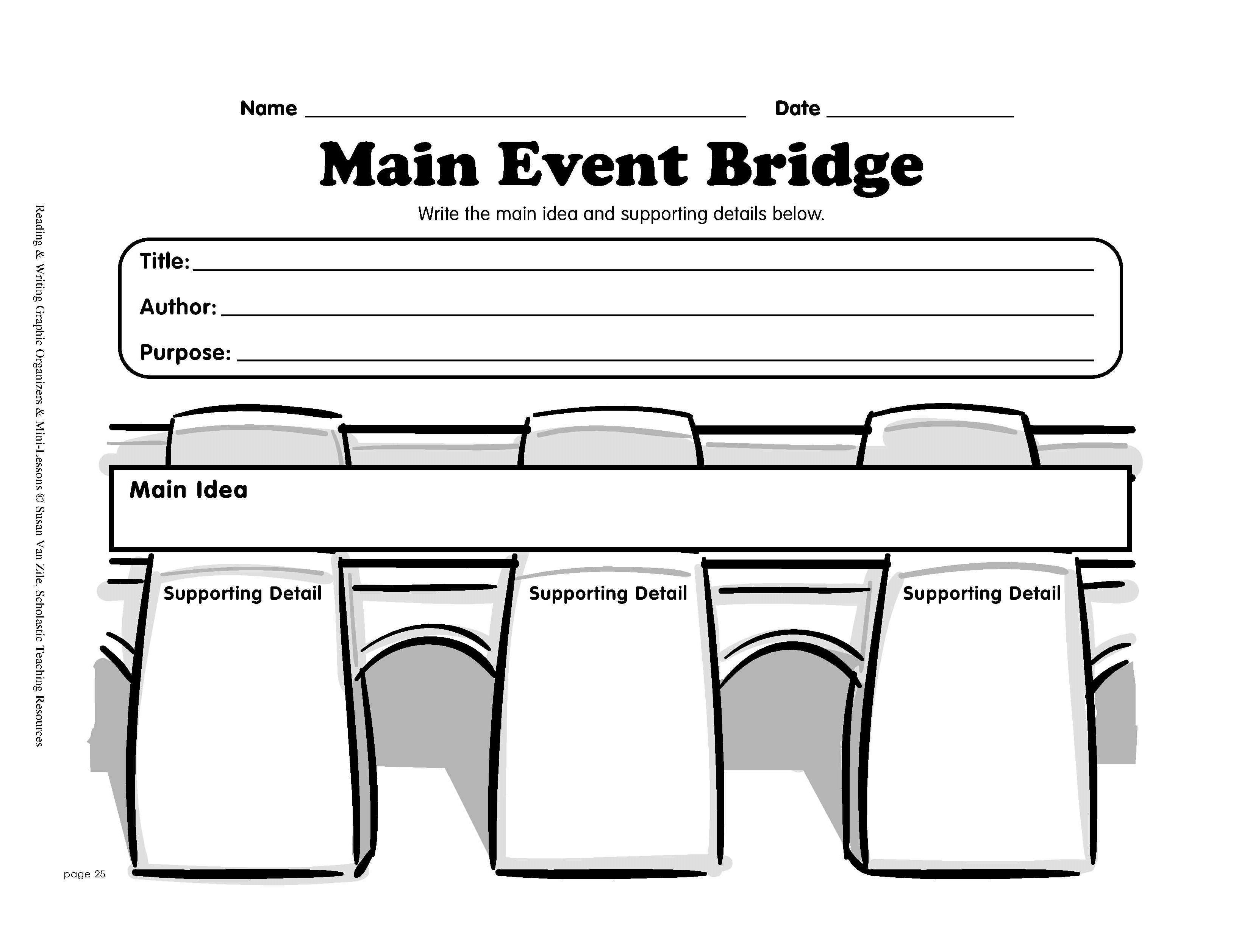 Reading Graphic Organizer: Main Event Bridge   Printable Graphic - Free Printable Main Idea Graphic Organizer