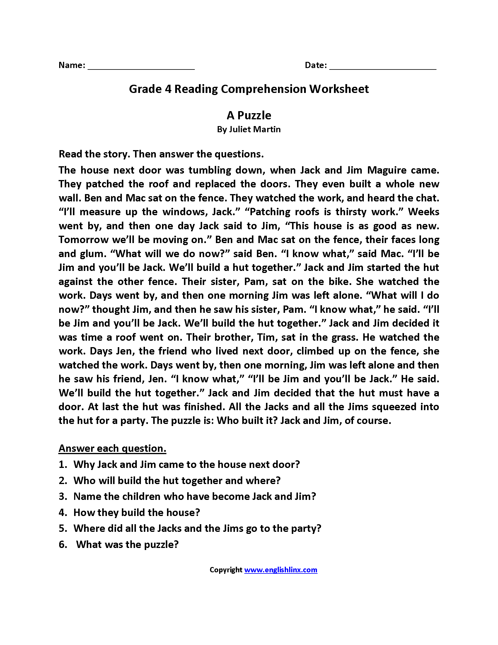 Reading Worksheets | Fourth Grade Reading Worksheets - Free Printable 4Th Grade Reading Worksheets