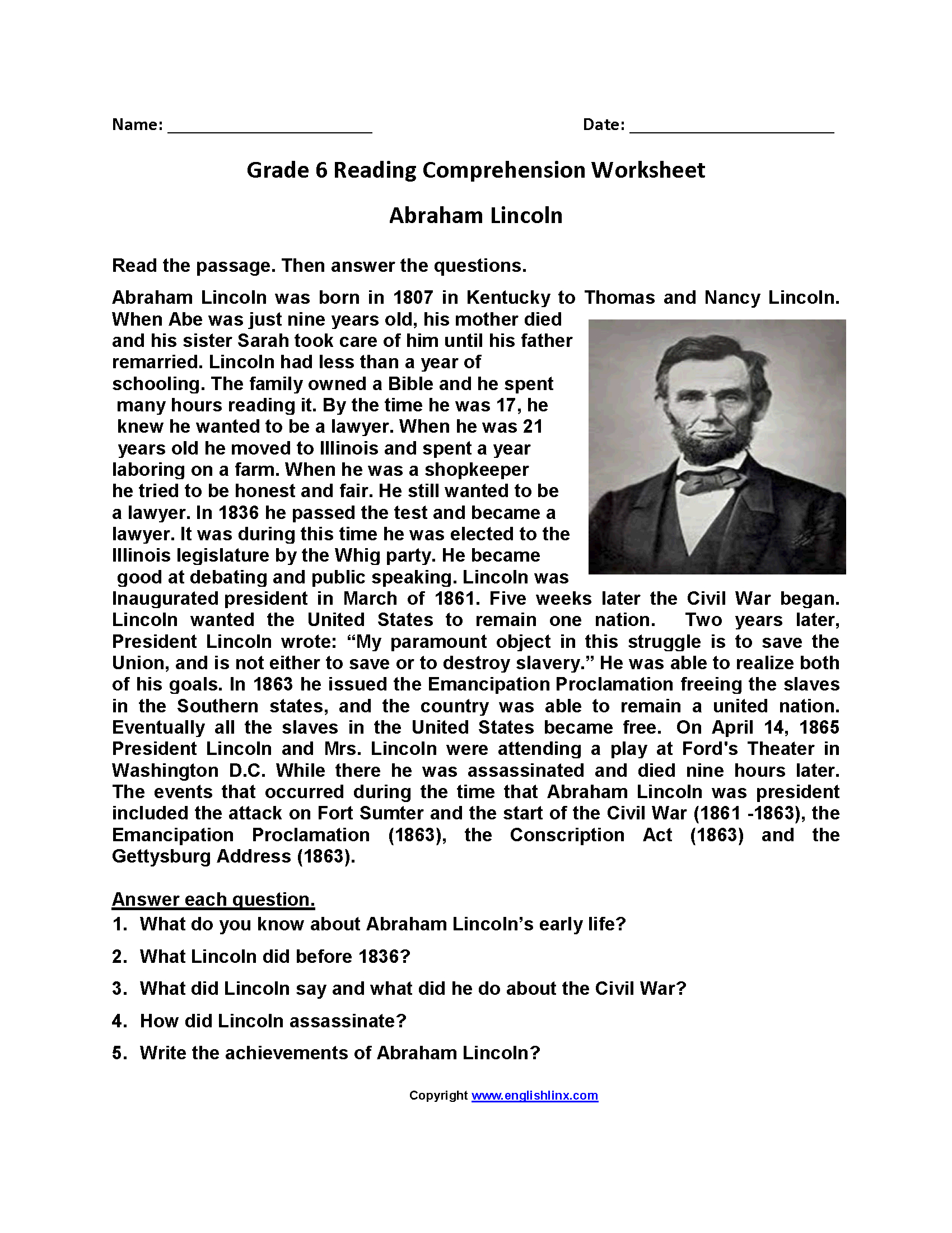 Reading Worksheets   Sixth Grade Reading Worksheets - Free Printable Comprehension Worksheets For Grade 5