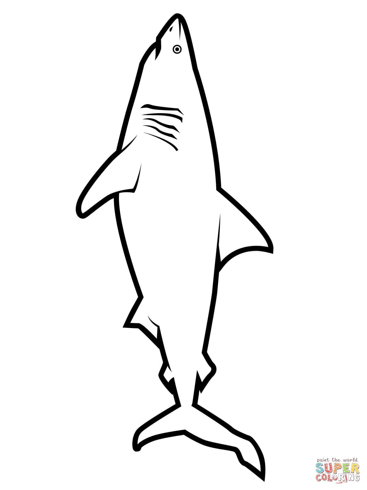 Realistic Great White Shark Coloring Page | Free Printable Coloring - Free Printable Shark Coloring Pages
