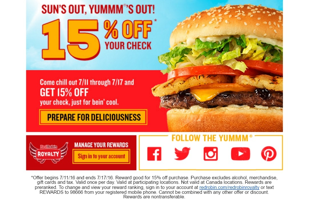 Red Robin Restaurant Discount Coupons : New York Deals Restaurant - Free Red Robin Coupons Printable