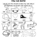 Rhyming Worksheet For Grades Preschool Or Kindergarten Early Pre   Free Printable Rhyming Activities For Kindergarten