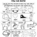 Rhyming Worksheet For Grades Preschool Or Kindergarten Early Pre   Free Printable Rhyming Activities For Kindergarten