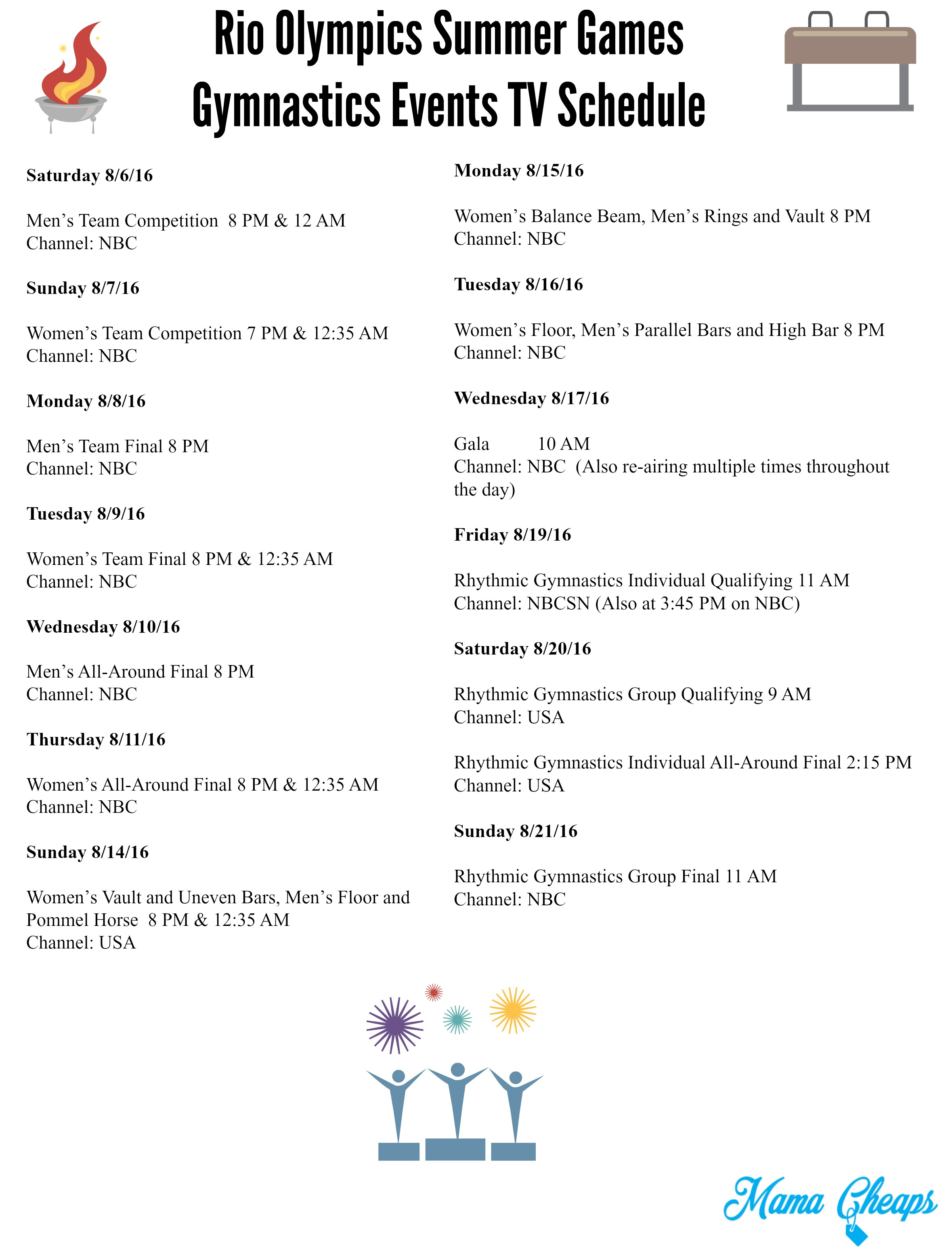 Rio Olympics Summer Games Gymnastics Events Tv Schedule - Free - Free Printable Summer Games