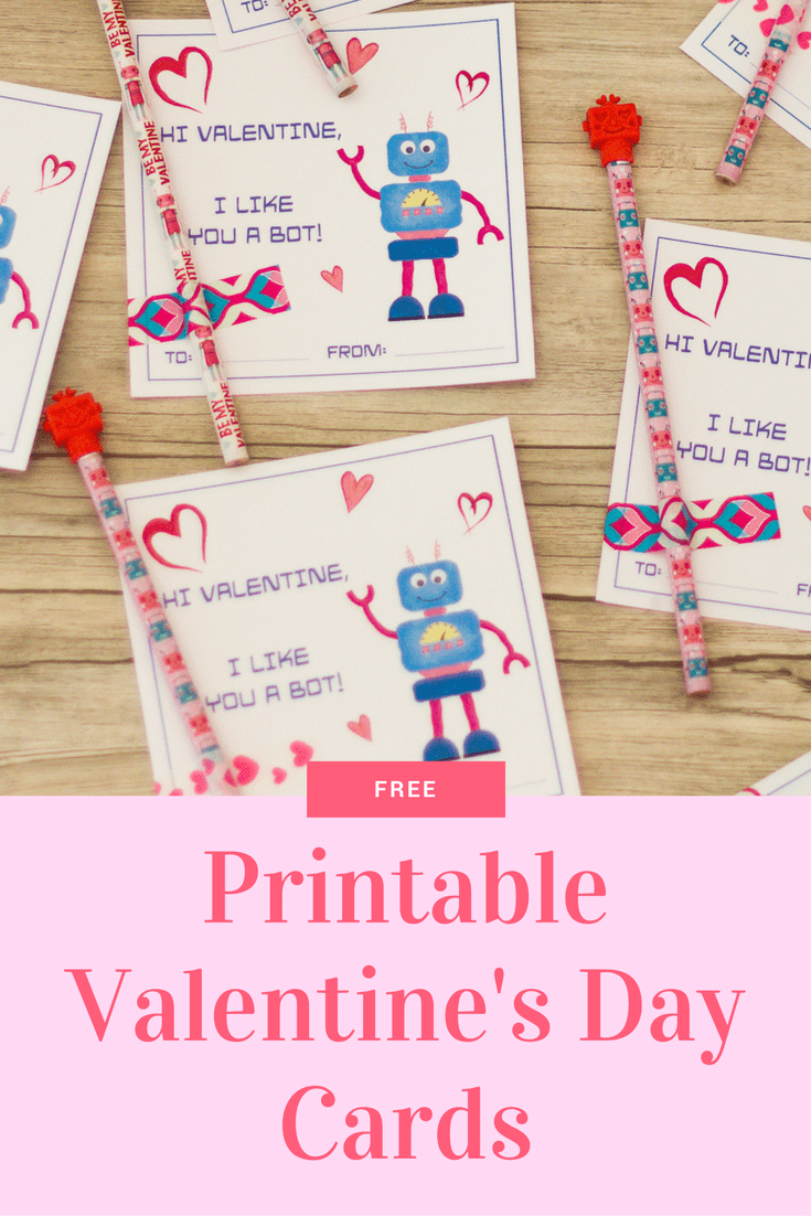 Robot Valentine Cards: Free Printable Cards For Kids - Free Printable Valentine Cards For Kids