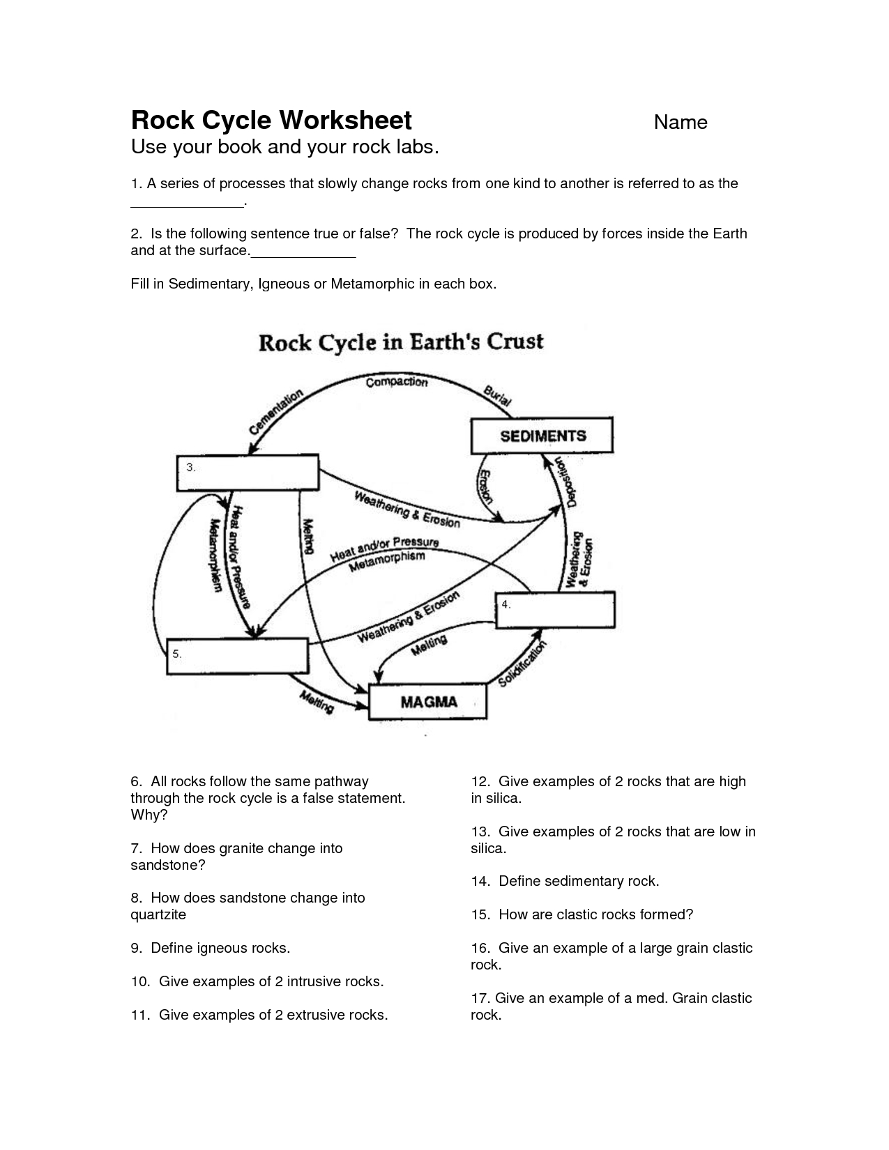 Rock Cycle Worksheet - Google Search | School | Pinterest - Rock Cycle Worksheets Free Printable