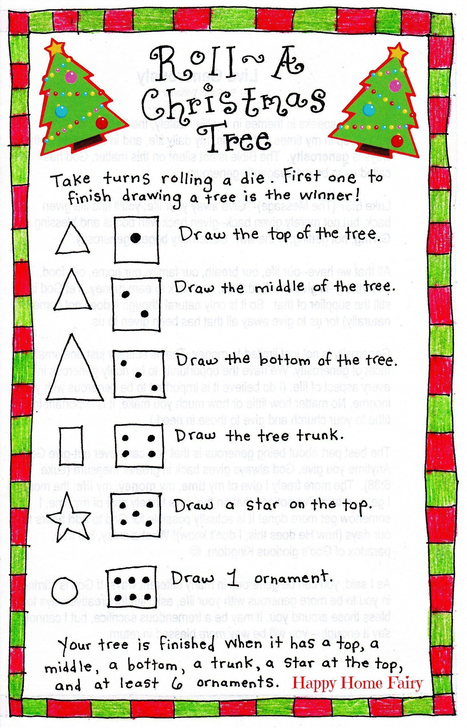 Roll-A-Christmas-Tree Game – Free Printable! | Christmas | Pinterest - Free Printable Christmas Puzzles And Games