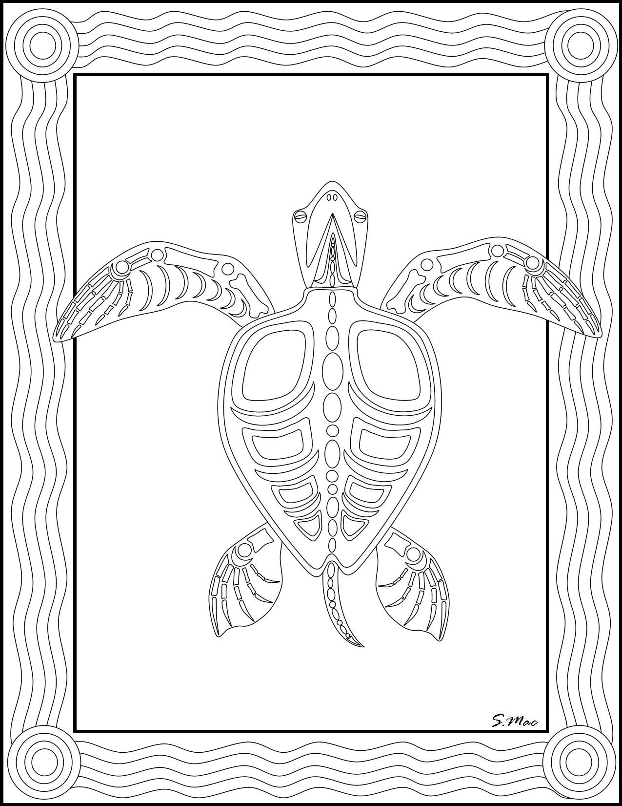 S.mac's Sea Turtle X-Ray Art Coloring Page | Art- Coloring Therapy - Free Printable Animal X Rays