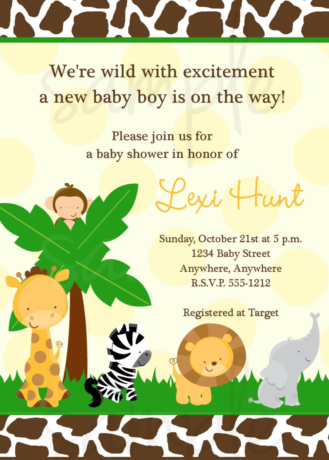 Safari Baby Shower Invitation Jungle Baby Shower Invitation Safari - Free Printable Jungle Safari Baby Shower Invitations