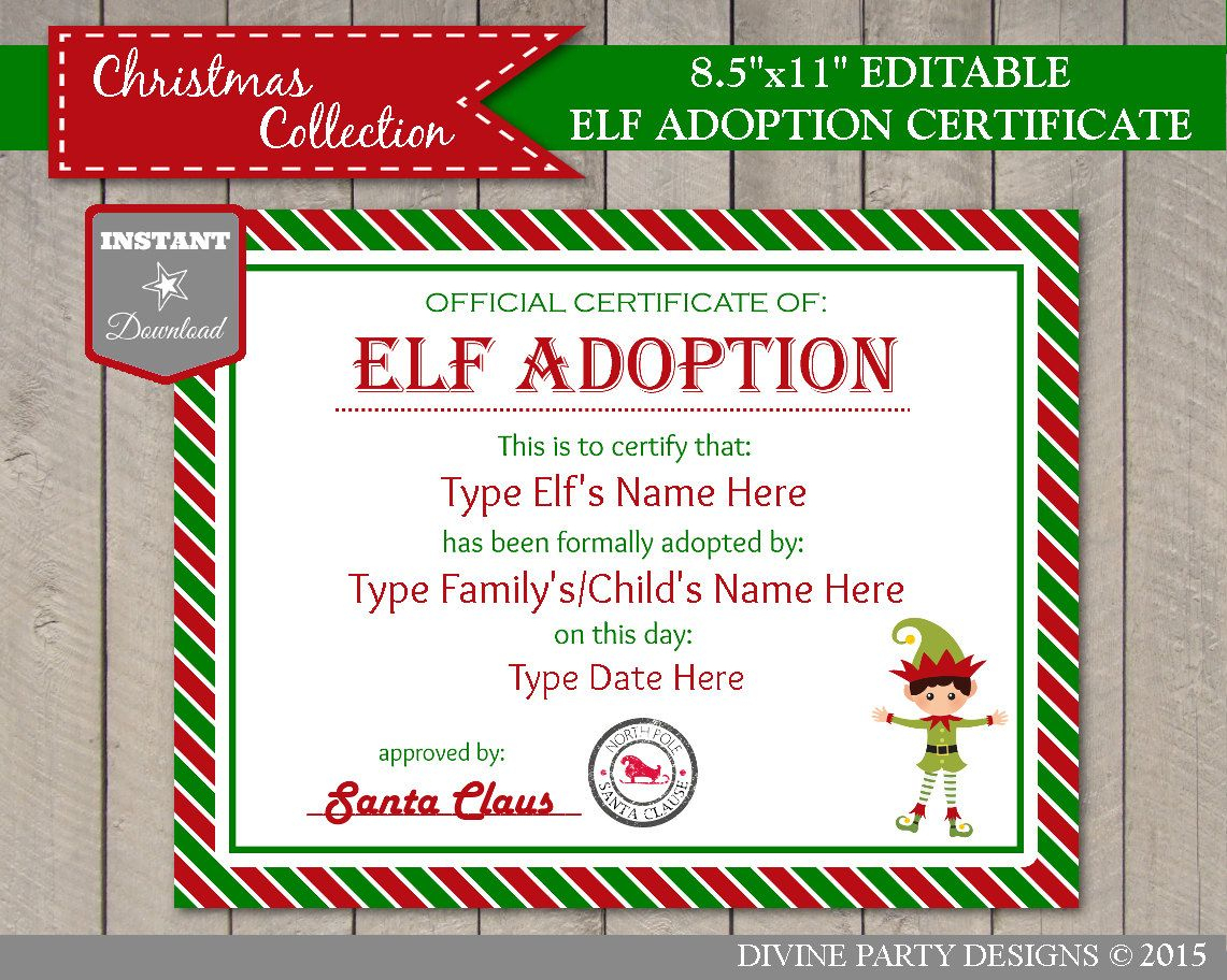 Sale Instant Download Editable Elf Adoption Certificate/ Add Family - Free Printable Adoption Certificate