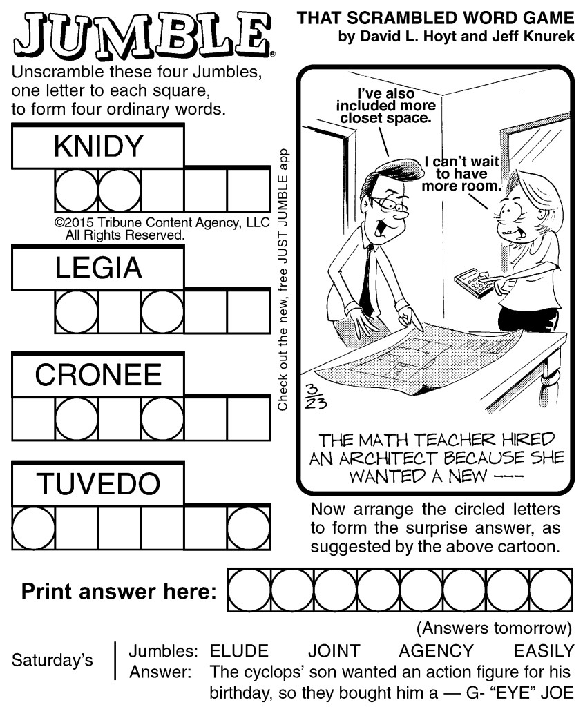 Sample Of Jumble | Tribune Content Agency (March 23, 2015) - Free Printable Word Jumble Puzzles For Adults