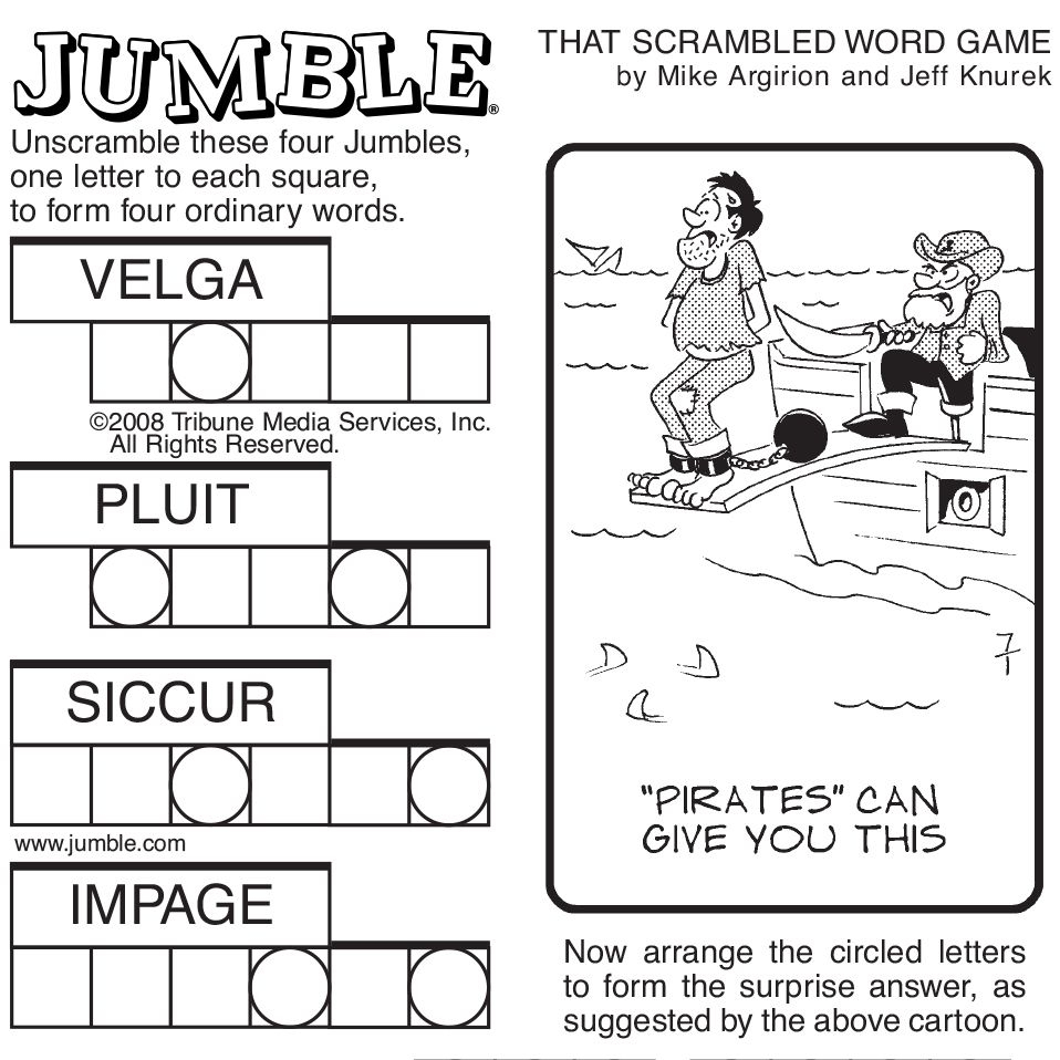 Sample Of Sunday Jumble | Tribune Content Agency | Stuff I Like - Jumble Puzzle Printable Free