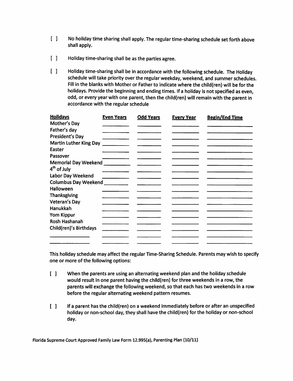 Sample Parenting Plan Template - Florida Free Download - Free Printable Parenting Plan