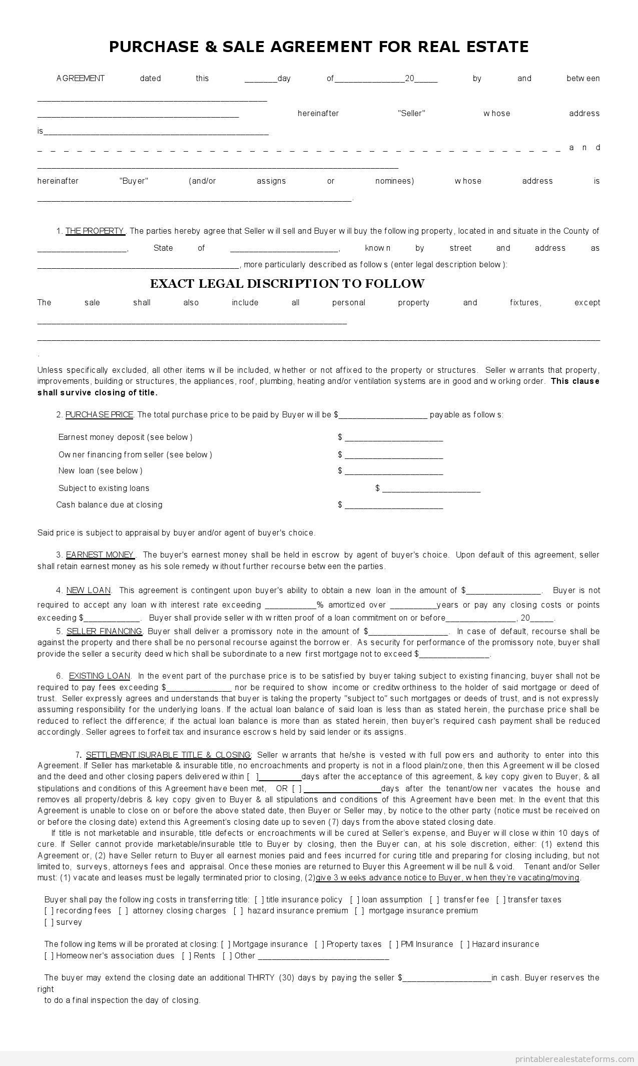 Sample Printable Sales Contract For Buying Subject 2 Form | Sample - Free Printable Real Estate Purchase Agreement