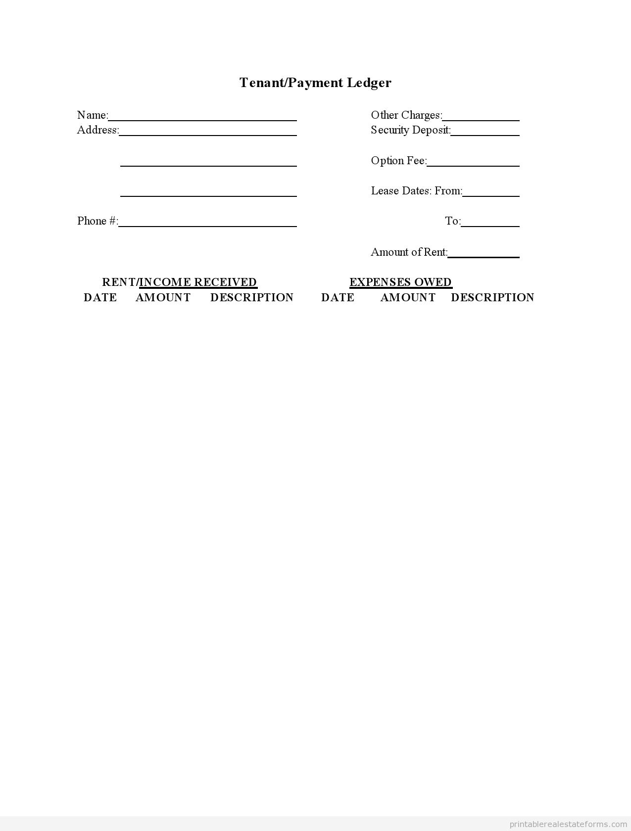 Sample Printable Tenant Payment Ledger Form   Sample Real Estate - Free Printable Rent Ledger