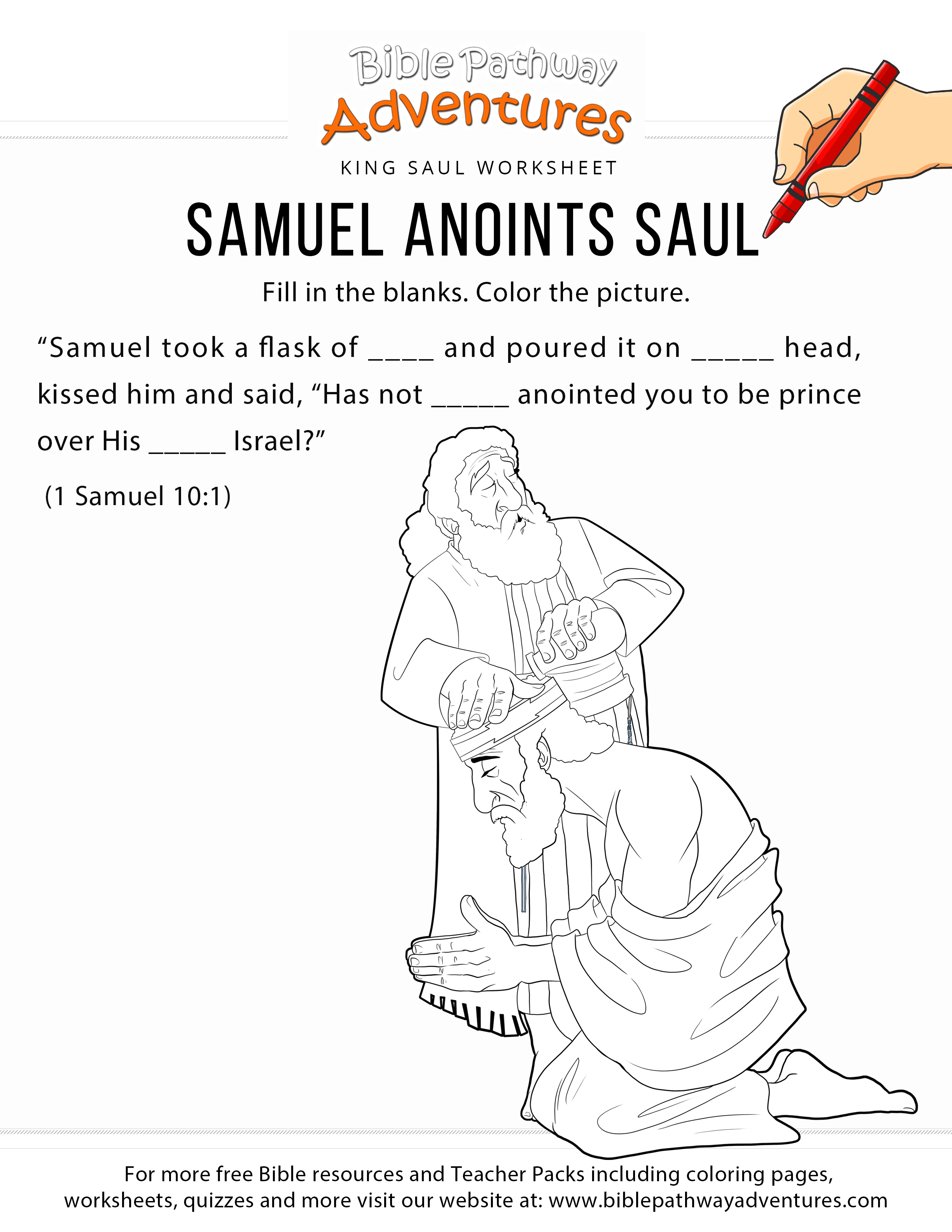 Samuel Anoints Saul Bible Worksheet And Coloring Page. Printable - Free Printable Children's Bible Lessons Worksheets