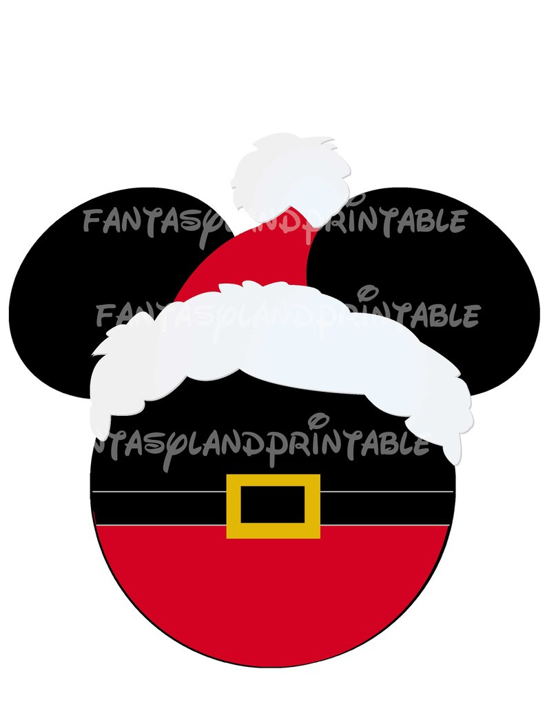 Santa Mickey Head Christmas Or Diy Printable Iron Transfer | Etsy - Free Printable Christmas Iron On Transfers