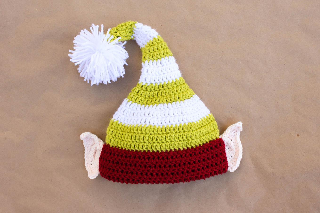 Santa's Helper Free Crochet Elf Hat Pattern (With Ears!) - Free Printable Santa Hat Patterns