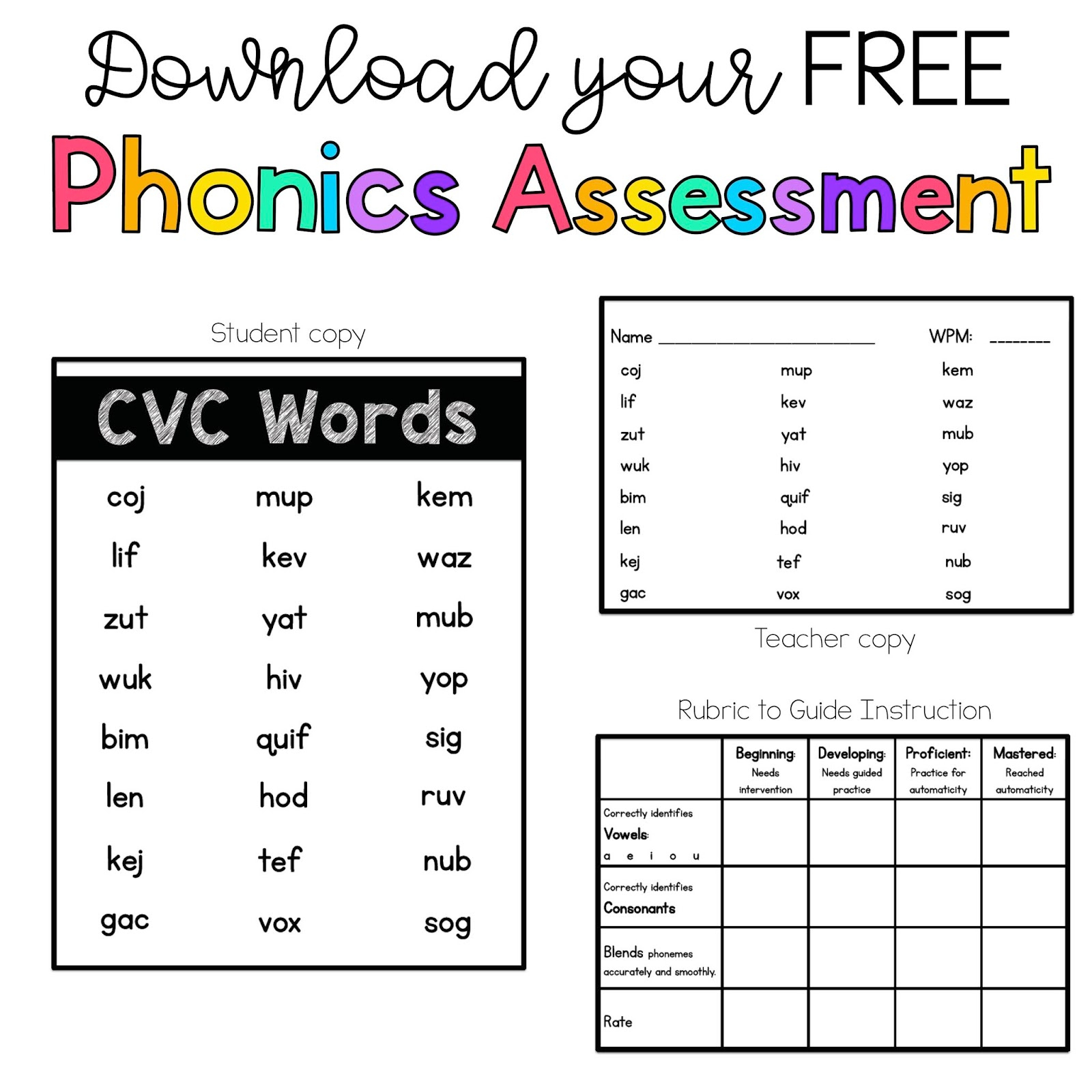 Sarah's First Grade Snippets: Phonics Assessments - Free Printable Phonics Assessments