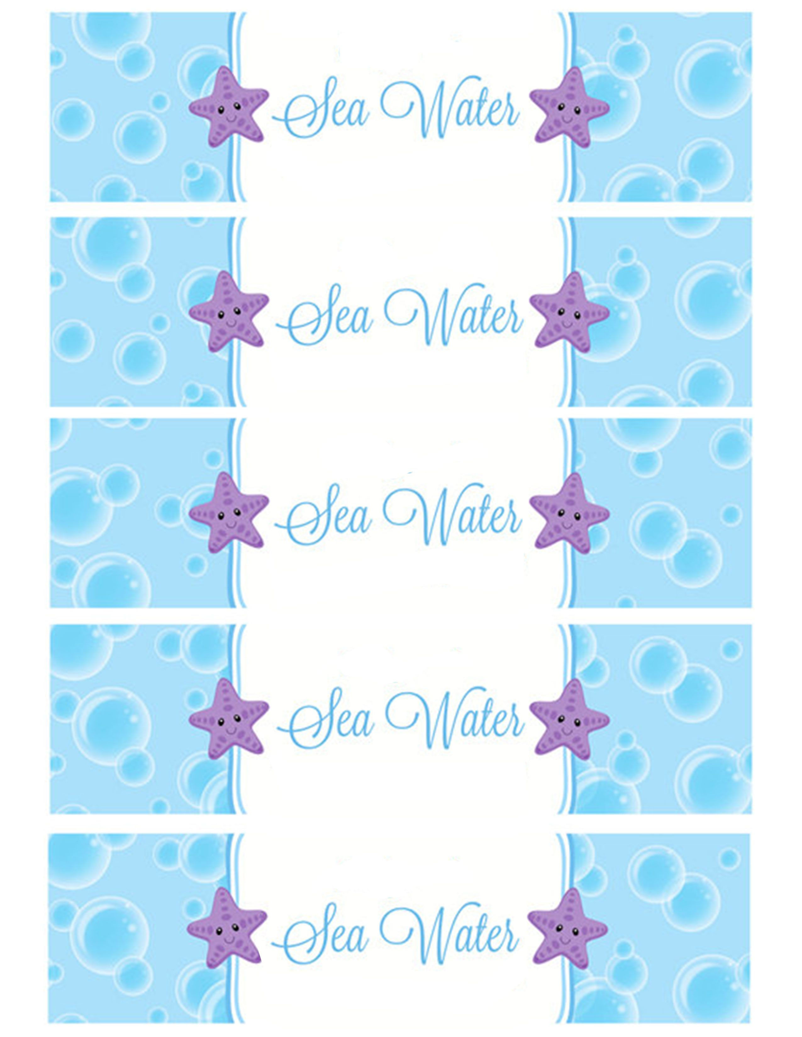 Sea Water Water Bottle Labels | Holiday - Birthday Party | Pinterest - Free Printable Little Mermaid Water Bottle Labels