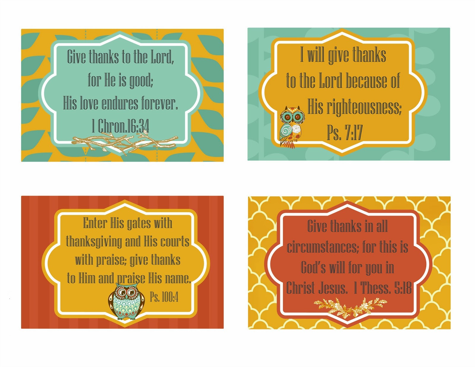 Second Chance To Dream - Free Printable Give Thanks Scripture Cards - Free Printable Scripture Cards