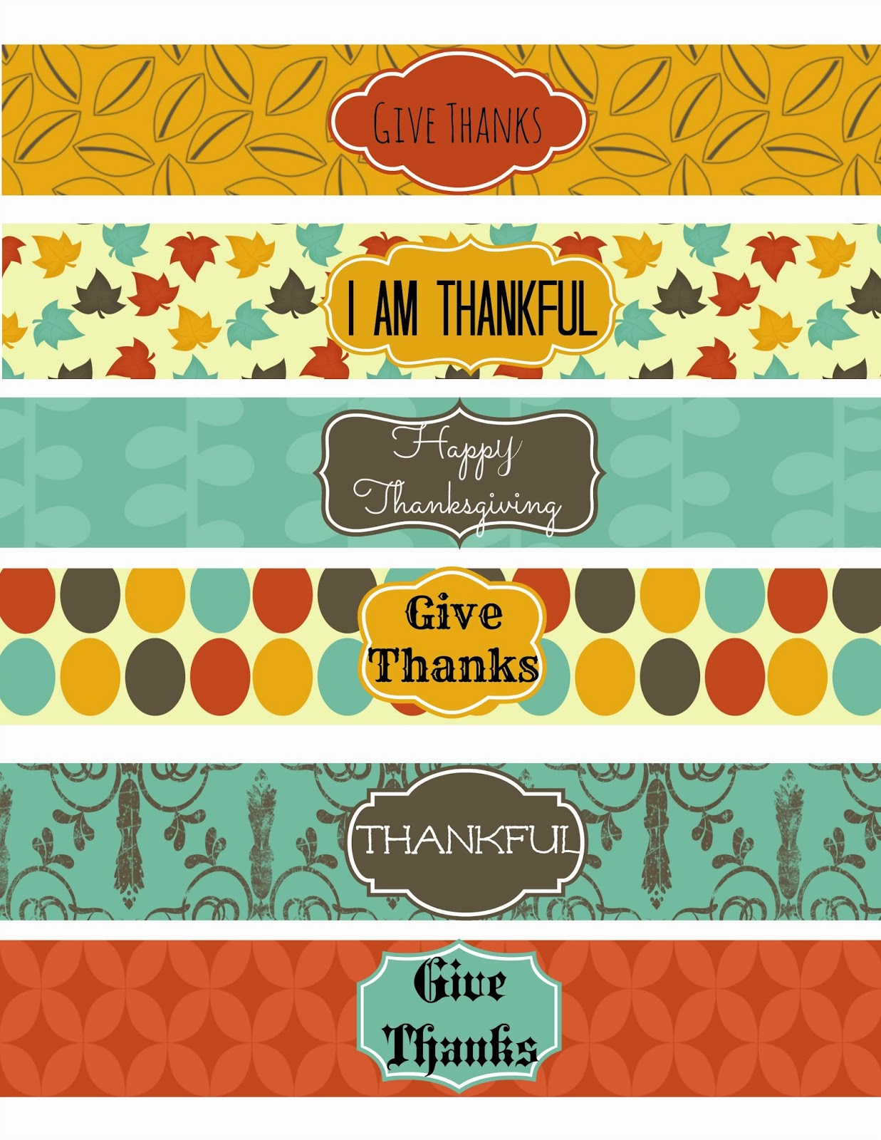 Second Chance To Dream - Free Thanksgiving Party Printables Set 1 - Free Printable Thanksgiving Images
