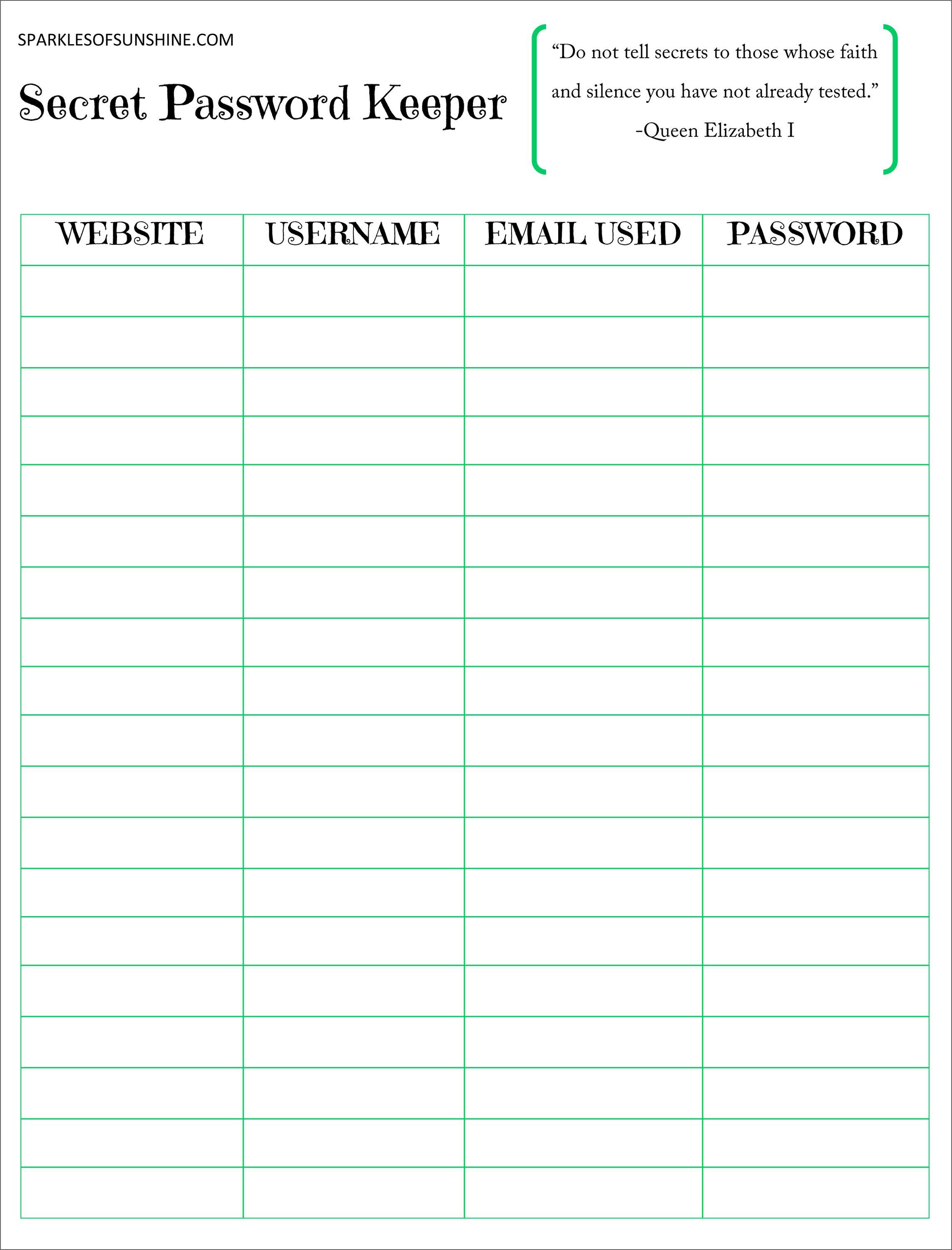 Secret Password Keeper Free Printable   Planners   Password Keeper - Free Printable Password Organizer