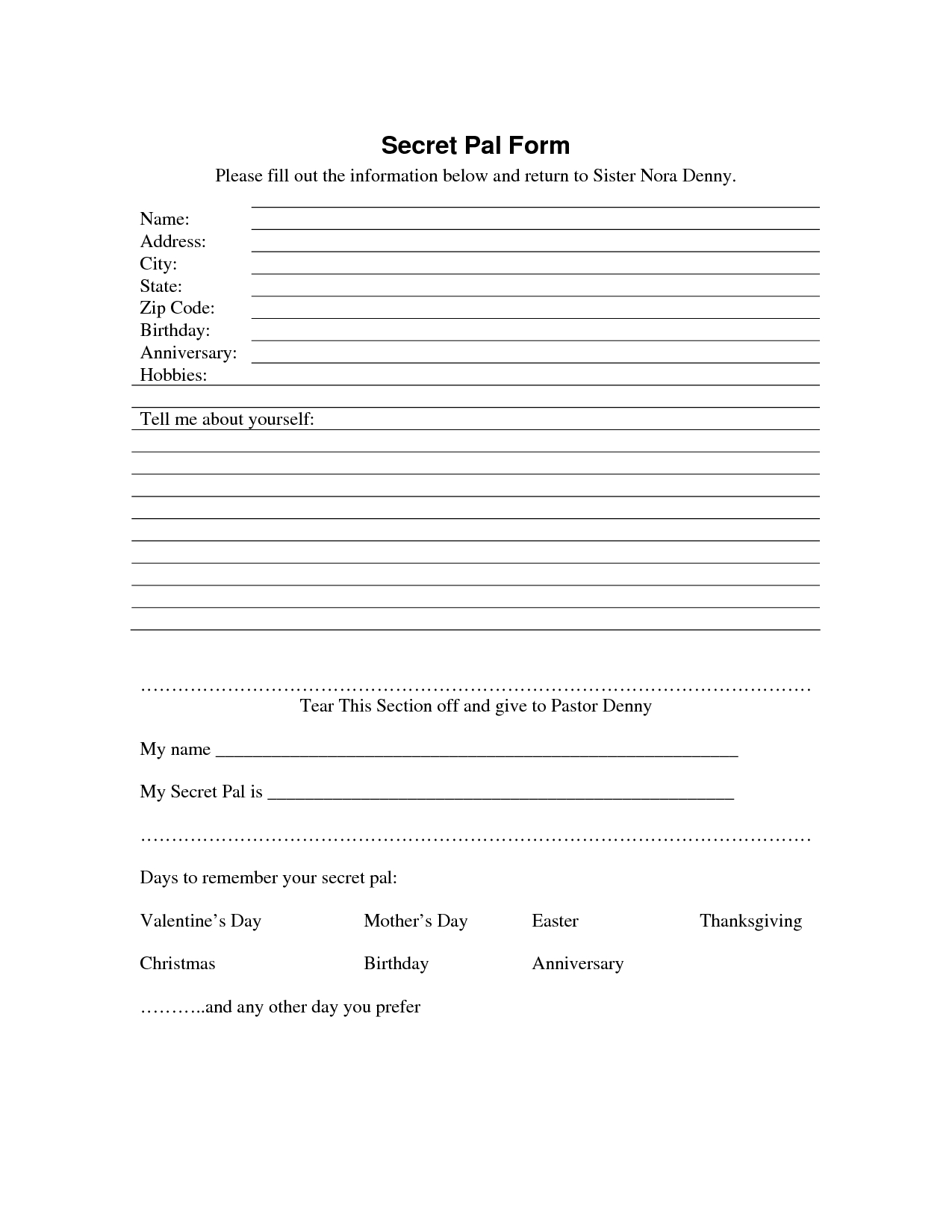 Secret Sister Questionnaire | Secret Pal Form - Download As Pdf - Free Printable Secret Pal Forms
