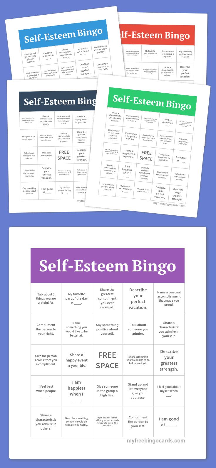 Self-Esteem Bingo   Group Ideas   Free Bingo Cards, Free Printable - Free Printable Self Esteem Bingo