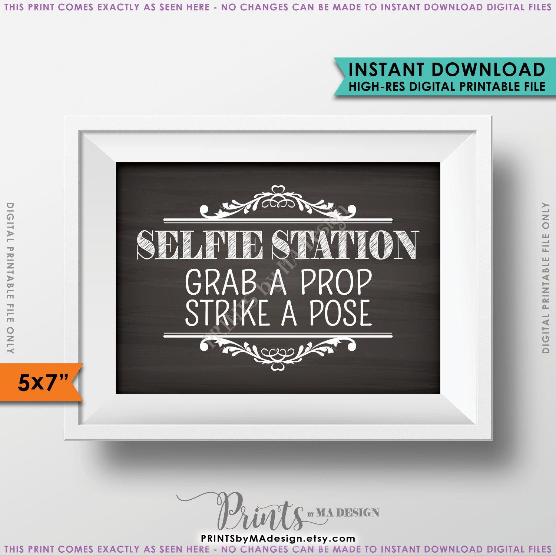 Selfie Station Sign, Grab A Prop & Strike A Pose Photo Booth Wedding - Selfie Station Free Printable